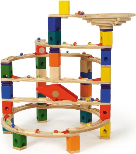 Hape Quadrilla Wooden Marble Run Construction Quadrilla Basic Set 98 Pieces (Quadrilla Twist Marble)