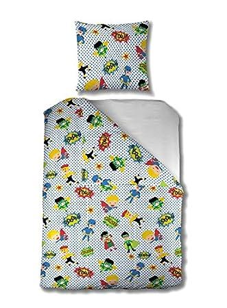 Aminata Kids U2013 Bettwäsche 135x200 Cm Kinder Jungen Superhelden Baumwolle  Reißverschluss Blau Grün Gelb Rot Held