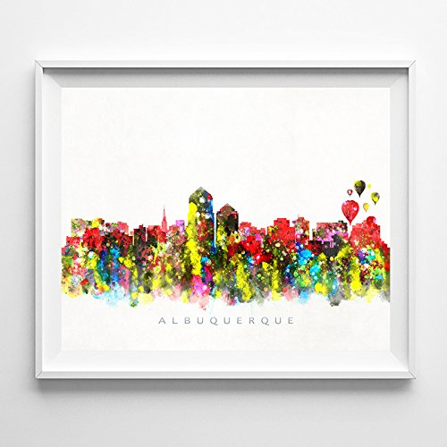 Albuquerque New Mexico Watercolor Skyline Wall Art Home Decor Poster - Albuquerque Gift Shops