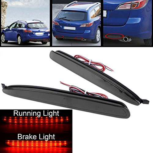 1 Brace Smoke Lens Bumper Reflector 24-SMD LED Tail Light For 03 04 05 06 07 08 Mazda6 Mazdaspeed6