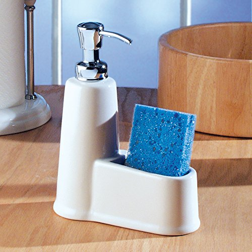 InterDesign York Kitchen Ceramic Soap Dispenser And Sponge