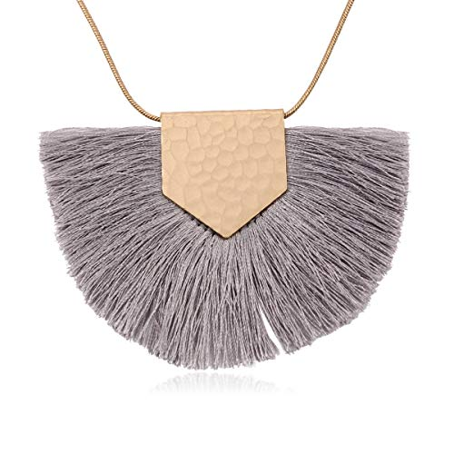 - RIAH FASHION Antique Bohemian Silky Thread Fan Tassel Statement Necklace - Vintage Gold Feather Shape Strand Fringe Lightweight Long Chain (Necklace Half Moon Tassel - Gray)