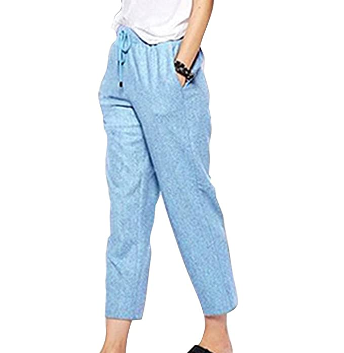 Deyou Pantalones Capri de lino 3 4 para mujer con bolsillos ... 2b81eeb5496a