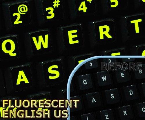 Glowing fluorescent Large Lettering English US keyboard - Keyboard Stickers English