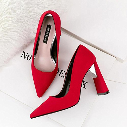 Red 10cm Suede Pointed High Single Thick Shoes Shoes With Nightclub Heeled Women'S Professional 1UHTSqS