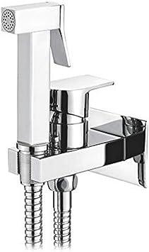 Ibergrif M22019 - Monomando Empotrar para Bidé WC, Grifo de Bidet Cuadrado con Agua Fría y Caliente, Cromo, Plata