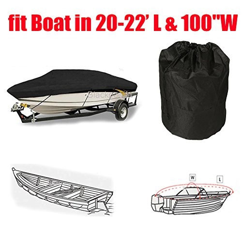 Blackpoolfa 600D Waterproof Boat Cover for V-Hull Runabouts and Bass Boats, Fish - Ski Trailerable Boat Fits 20-22ft Length Boat (Black) (22' Black Bass)