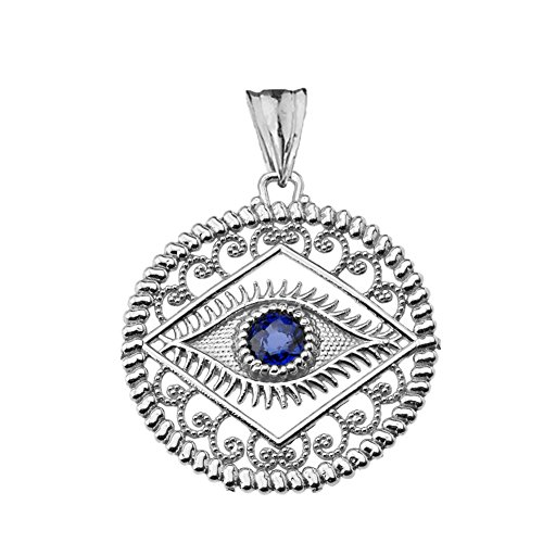 Exquisite Sterling Silver Evil Eye Filigree Charm Pendant with Blue Center ()
