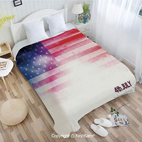 PUTIEN Super Soft Blankets for Couch Bed Birthday American Flag Background with Stars and Stripes Famous Country US Design Blanket for Home(49Wx59L)