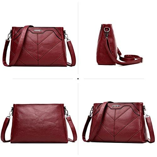 Tisdaini Fashion Hand Shoulder Bag 2018 New Bag Women Messenger Bag Pu Leather Bag Simple Red Wine