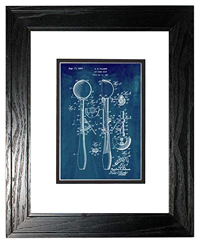 Ice-Cream Scoop Patent Art Midnight Blue Print in a Black Pine Wood Frame with a Double Mat (11