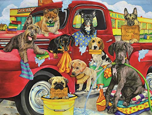 (Puppy Car Wash 300 pc Jigsaw Puzzle by SunsOut )