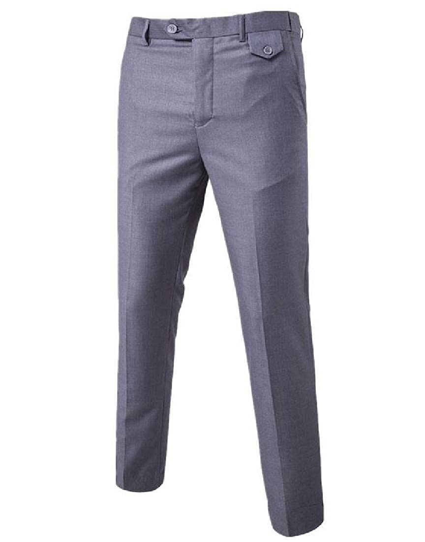YUNY Men Solid Fit Casual Cotton Formal Middle Waist Plain Front Pant Light Grey 4XL