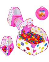Playz 3pc Kids Play Tent Crawl Tunnel and Ball...