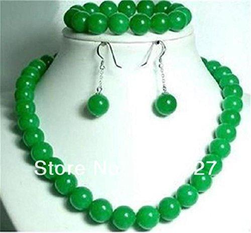 Prime Leader 10Mm Green Jade Jasper Round Beads Necklace 18