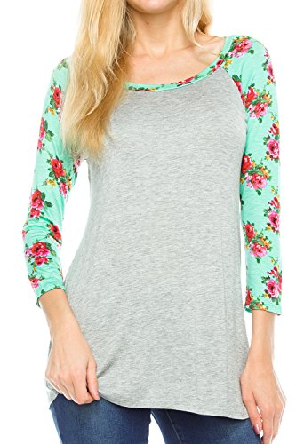 Boatneck Raglan Tee - KAYLYN KAYDEN KLKD A082 Women's Floral Sleeves Solid Wide Neck Raglan Top Grey/Mint Small