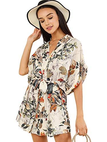f3efc7d8fe SheIn Women's Vintage V Neck Short Sleeve Floral Print Self Tie Dress  X-Large Multicolor