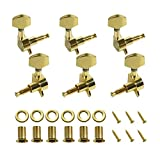 FINO Guitar Machine Head,6 String Tuning Pegs for 3L3R Folk Acoustic Guitar, Right Hand Chrome Tuner Guitar Parts 1 Set,Gold