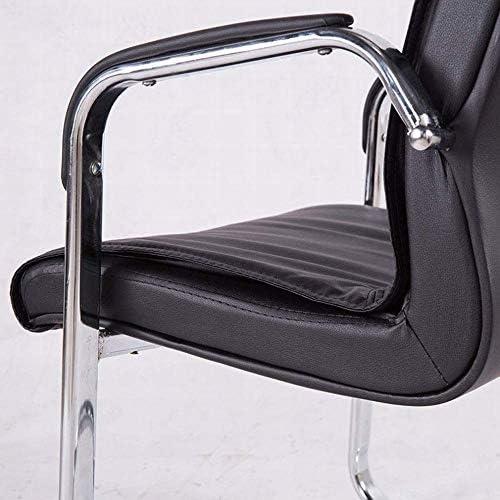 ZZ Chaise en Cuir Simple De Ménage en Forme d'arc avec Pieds en Acier, Chaise De Bureau Carrée Noire,Noir,1