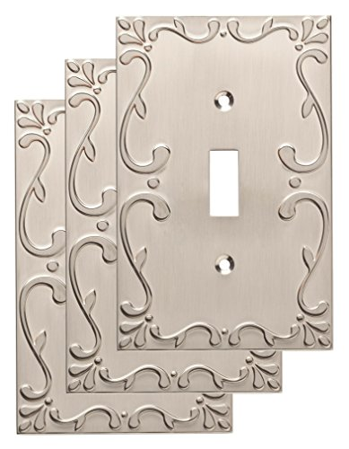 (Franklin Brass W35070V-SN-C Classic Lace Single Switch Wall Plate/Switch Plate/Cover (3 Pack), Satin)