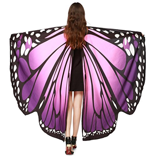 [Party Costume, METFIT Soft Fabric Butterfly Wings Shawl Fairy Pixie Accessory 2017 (Purple)] (Purple Butterfly Wings Costumes)
