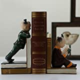 LPY-Set of 2 Bookends Resin Reading Kids Style Handicrafts, Book Ends for Office or Study Room Home Shelf Decorative