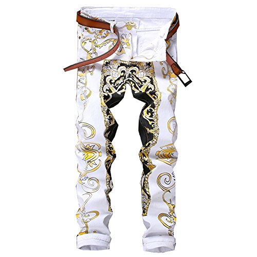 Homme Denim Pants - Milan Station Men's Casual Stretch Straight Leg Printed Moto Biker Skinny Jeans Denim Pants