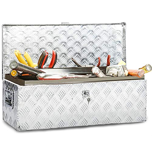 - Truck Tool Box Aluminum Tool Box Camper Tool Box W/Handle and Lock for Pickup Truck/Trailer 30