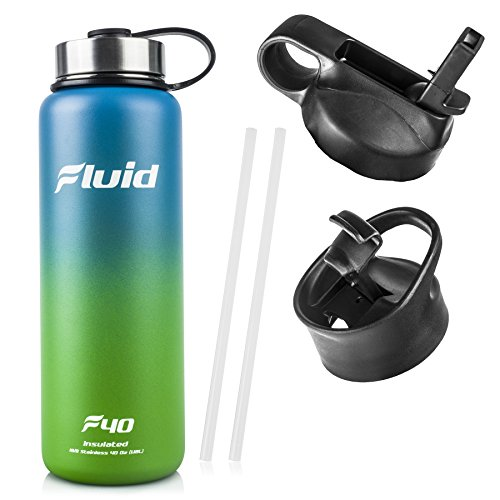 Fluid Insulated Stainless Steel Water Bottle By Sports (Aqua-Lime) - 40 Oz, Wide Mouth, BPA Free, Bonus Flip-top Lid Included