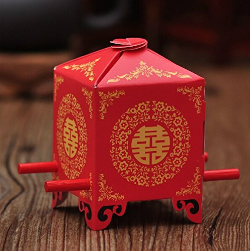 Saitec ®Pack of 50ps Chinese Traditional Red Bridal Sedan Chair Style Wedding Bridal Shower Favor Candy Gift Boxes