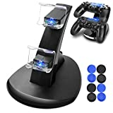 Cheap PS4 Controller Charger, Dreamore Playstation 4/PS4 Pro/PS4 Slim Dual USB Fast Charging Station Stand for Sony DualShock 4 Controllers-Included Thumb Grips Accessories for Joysticks