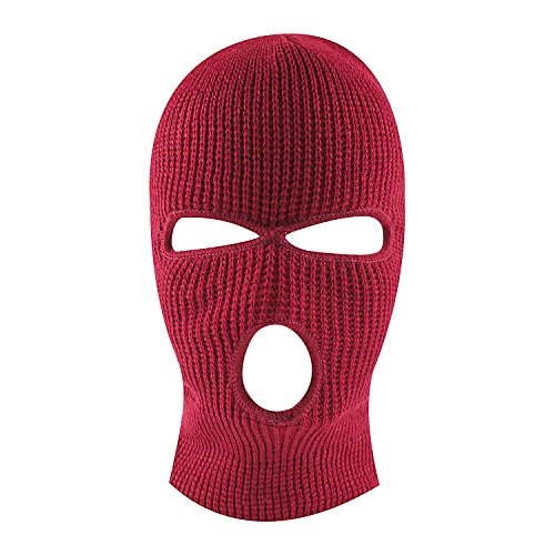 Knit Sew Acrylic Outdoor Full Face Cover Thermal Ski Mask by Super Z Outlet, Red, One Size Fits Most