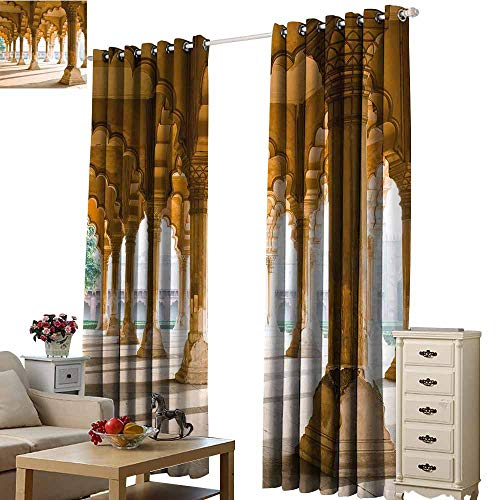 Warm Family Pillar Customized Curtains Historical Theme Gallery of Pillars at Agra Fort Ethnic Digital Image Privacy Protection W120 x L96 Light Coffee and ()