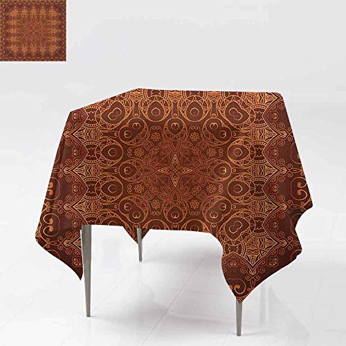 (SONGDAYONE Colorful Square Tablecloth Antique Vintage Lacy Persian Arabic Pattern from Ottoman Empire Palace Carpet Style Art Indoor and Outdoor Tablecloth Orange Brown W36 xL36)