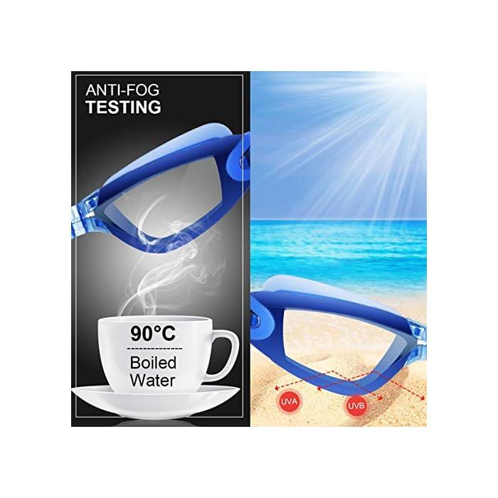 51HaaMXA9aL Diseño innovador - El tapón para los oídos está conectado con las gafas de natación. no te preocupes más por perder tapones para los oídos mientras estás nadando. Además, este tapón de silicona suave es cómodo en el oído con alta resistencia al agua. Anti niebla y protección UV - Antiniebla y capa ULTRAVIOLETA de la protección le proporcionan una experiencia excelente de la natación bajo agua. La protección contra la niebla puede ofrecerle una visión distante clara y larga debajo del agua, protección ultravioleta puede ayudar a proteger sus ojos contra ser lastimado por las luces ultravioleta y brillantes. Gran sellado y sin fugas - El material de silicona y el diseño ergonómico aseguran un ajuste perfecto en la mayoría de las formas faciales y nunca permite la filtración de agua.