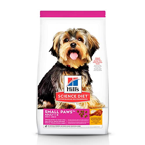 Hill's Science Diet Dry Dog Food, Adult, Small Paws for Small Breeds, Chicken Meal & Rice Recipe, 15.5 lb Bag (Best Dog Food For Small Dogs)