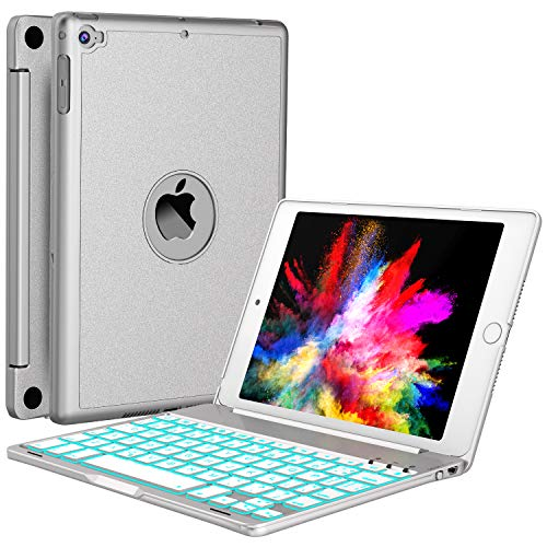 iPad Mini 5 / Mini 4 Keyboard - 135 Degree Flip - 7 Color Backlit - Auto Sleep/Wake - Ultra-Thin Keyboard Case for Apple iPad Mini 5 (2019) iPad Mini 4 (2015), Silver