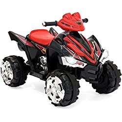 Best Choice Products 12V Kids Battery Powered Electric 4-Wheeler Quad ATV Ride-On Toy w/ 2 Speeds, LED Lights - Red