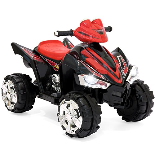 - Best Choice Products 12V Kids Battery Powered Electric 4-Wheeler Quad ATV Ride-On Toy w/ 2 Speeds, Horn, Engine Sounds, Music, LED Lights - Red