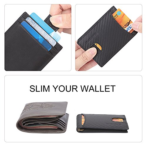 Wallet Clip Card Magnet BLOCKING Thin Slim Black RFID Wallet Fibre Carbon Clip Wallet Holder Distressed Ultra TEEMZOME Hunter Men's Money Brown Strong Fibre Leather Case With Credit Carbon Real 07Bwx0Uq1