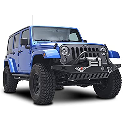 Restyling Factory Jeep Wrangler JK Rock Crawler Front Bumper with D-Ring and Winch Plate Ready&OE Fog Lights Hole-Textured Black for 07-17 Jeep Wrangler JK