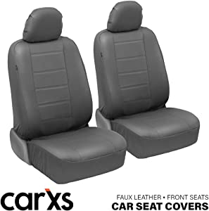 BDK carXS UltraLuxe Faux Leather Car Seat Covers, Front Seats Only – Front Seat Cover Set, Padded for Comfort, Universal Fit for Cars Trucks Vans & SUVs (Gray)