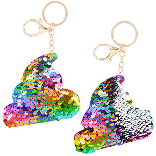Flip Mermaid Sequin Rainbow Poop Keychain Party Favors Party Supplies (12 pack) -