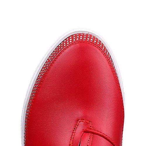 AllhqFashion Mujeres Colores Surtidos Puntera Redonda Mini Tacón Caña Baja Cremallera Botas Rojo