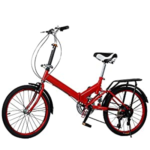 "Ferty 20"" Folding Bike 6 Shift Speed Storage Bicycle Wheel Aluminum Frame for School Sports (US STOCK) (red)"