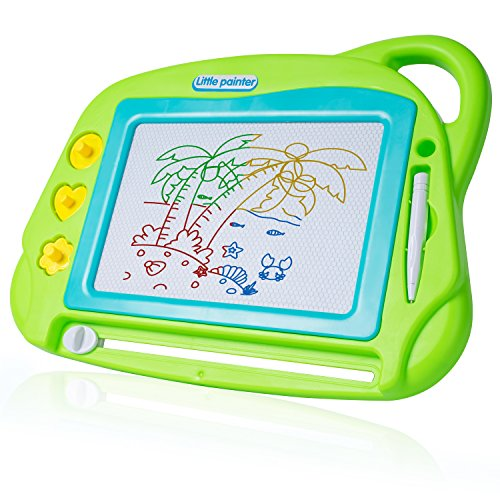 SGILE Magnetic Drawing Board Toy, Magna Doodle Drawing Writing Sketching Pad with 3 Stamps, Non-Toxic Colorful Erasable Sketching Pad Tablet for Toddler Kids Preschooler, Green