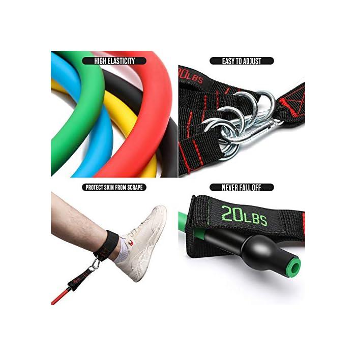 """51HabLV9GmL 【MÚLTIPLES ELECCIONES DE RESISTENCIA】: El set de bandas de resistencia de FitBeast incluye 5 bandas para entrenar, cada una de lastiene 48 """"de largo, cada uno viene con tubos de distintos colores y también vienen marcados con el peso para identificarlo. Los colores representan distintos niveles de resistencia: amarillo (10lbs), azul (15lbs), verde (20lbs), negro (25lbs) y rojo (30lbs). El largo de las bandas: 48"""", puedes usarlos por sí solos o en combinación, de acuerdo a tus necesidades. 【SET DE BANDAS MEJORADAS】: Cada set de bandas de resistencia mejorada viene con 2 correas suaves para tobillos brindando mayor comodidad, 4 manijas acolchadas para entrenar en grupo y un GRAN anclaje para puerta, esto agrega mayor variedad de ejercicios de resistencia. Cumplirá con tus necesidades de entrenamiento personales, sea para pecho, espalda, caderas, abdomen, hombros, muslos, etc. El diseño inverso de las hebillas reforzadas brinda una instalación y desinstalación más sencilla. 【CÓMODO Y DURADERO】: El kit de bandas de resistencia de FitBeast fabricado con látex natural de alta calidad, no dañará al medio ambiente, es duradero y elástico. Esta banda de doble grosor evitará que se rompa o se deforme, incluso después de 30,000 estiramientos convencionales. El material de alta calidad en la correa para tobillos asegurará una mayor comodidad. Las hebillas reforzadas y anclajes para puertas agregan al atractivo que brinda el set de bandas de ejercicio de FitBeast."""