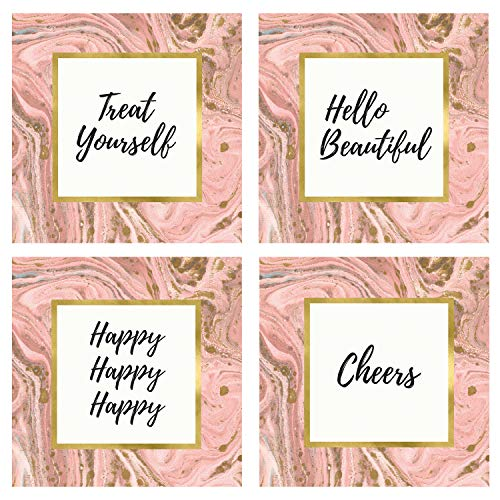 CB Gift Heartfelt Collection Glass Act Set of 4 Coasters, 4 x 4, Pink ()