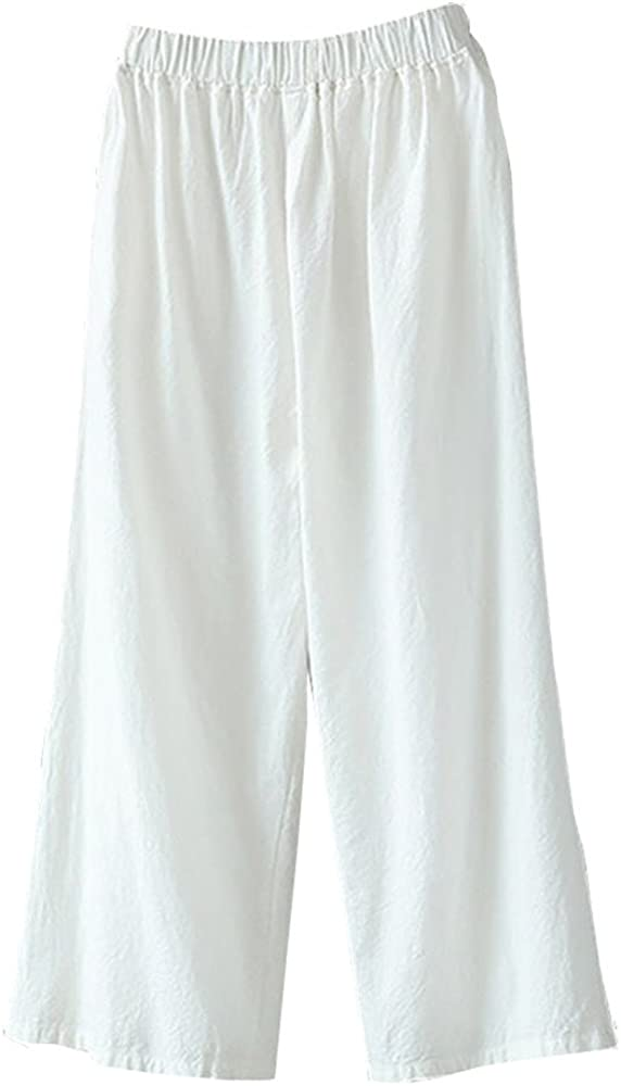 TRENDINAO Plus Size Linen Cotton Pants for Women Casual Loose Comfy Stretchy Elastic Waist Palazzo Wide Leg Trousers