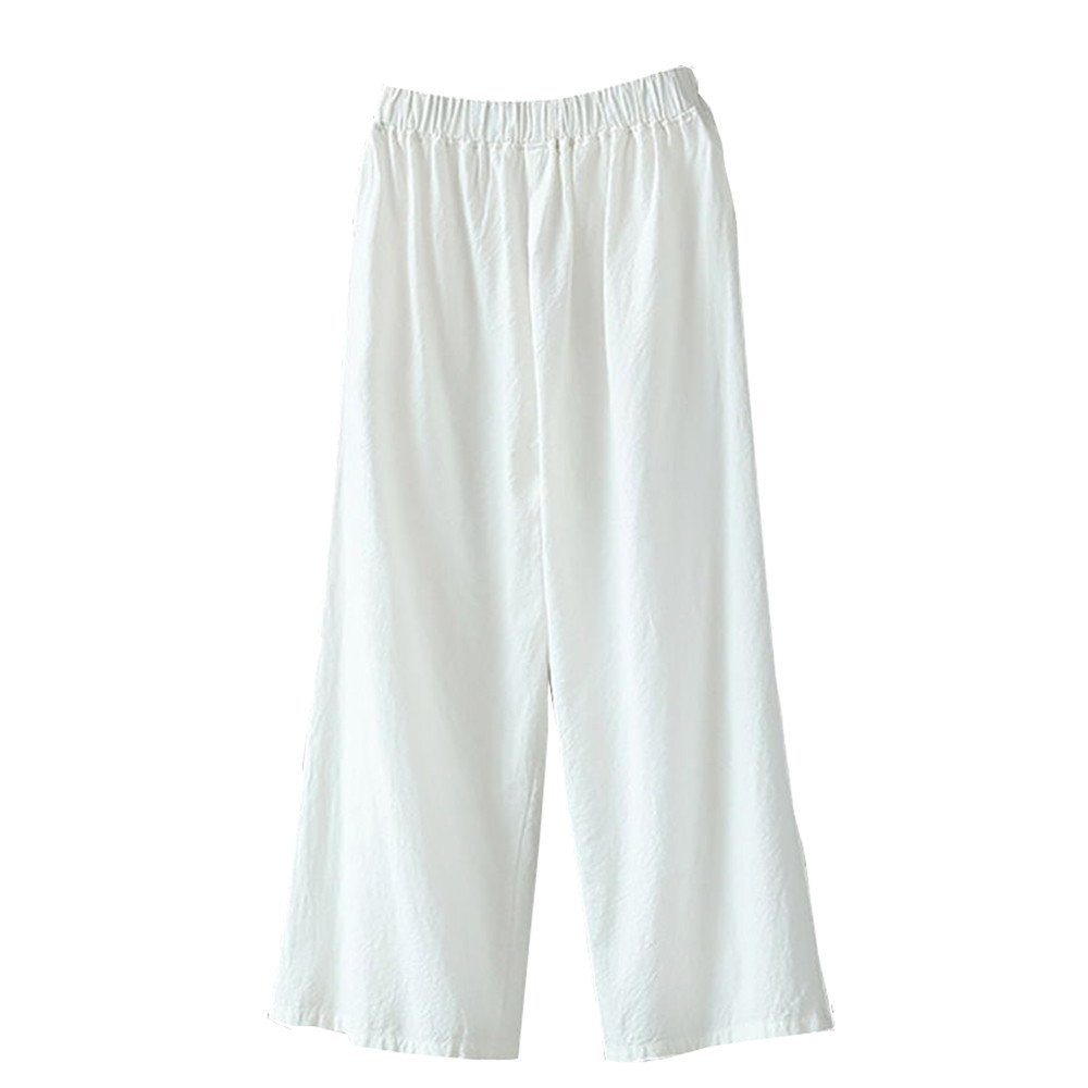 Xavigio_Women Leggings Women's High Waist Wide Leg Palazzo Pants Elastic Waist Casual Linen Lounge Loose Pants White